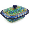 7-inch Stoneware Dish with Cover - Polmedia Polish Pottery H3502G