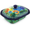 7-inch Stoneware Dish with Cover - Polmedia Polish Pottery H4994G