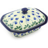 7-inch Stoneware Dish with Cover - Polmedia Polish Pottery H5841G