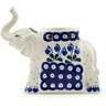 7-inch Stoneware Elephant Candle Holder - Polmedia Polish Pottery H6062I