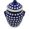 7-inch Stoneware Jar with Lid and Handles - Polmedia Polish Pottery H0978H