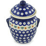 7-inch Stoneware Jar with Lid and Handles - Polmedia Polish Pottery H1250H