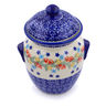 7-inch Stoneware Jar with Lid and Handles - Polmedia Polish Pottery H2218J