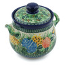 7-inch Stoneware Jar with Lid and Handles - Polmedia Polish Pottery H2878C