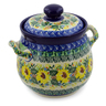 7-inch Stoneware Jar with Lid and Handles - Polmedia Polish Pottery H7638J