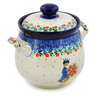 7-inch Stoneware Jar with Lid and Handles - Polmedia Polish Pottery H7647J