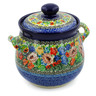 7-inch Stoneware Jar with Lid and Handles - Polmedia Polish Pottery H7649J