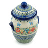 7-inch Stoneware Jar with Lid and Handles - Polmedia Polish Pottery H9803H