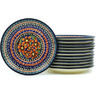 7-inch Stoneware Set of 12 Plates - Polmedia Polish Pottery H7713H