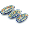 7-inch Stoneware Set of 3 Nesting Condiment Dishes - Polmedia Polish Pottery H5394J