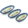 7-inch Stoneware Set of 3 Nesting Condiment Dishes - Polmedia Polish Pottery H5395J