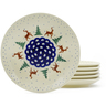 7-inch Stoneware Set of 6 Plates - Polmedia Polish Pottery H4935J