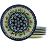 7-inch Stoneware Set of 6 Plates - Polmedia Polish Pottery H4940J