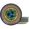7-inch Stoneware Set of 6 Plates - Polmedia Polish Pottery H5404J