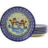 7-inch Stoneware Set of 6 Plates - Polmedia Polish Pottery H8849F