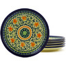 7-inch Stoneware Set of 6 Plates - Polmedia Polish Pottery H8858F
