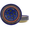 7-inch Stoneware Set of 6 Plates - Polmedia Polish Pottery H8905F