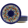 7-inch Stoneware Set of 6 Plates - Polmedia Polish Pottery H9988J