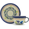 7 oz Stoneware Cup with Saucer - Polmedia Polish Pottery H0121H
