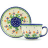 7 oz Stoneware Cup with Saucer - Polmedia Polish Pottery H0397C