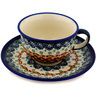 7 oz Stoneware Cup with Saucer - Polmedia Polish Pottery H0581D