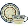 7 oz Stoneware Cup with Saucer - Polmedia Polish Pottery H0821G