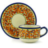 7 oz Stoneware Cup with Saucer - Polmedia Polish Pottery H1883F