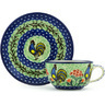 7 oz Stoneware Cup with Saucer - Polmedia Polish Pottery H2119H
