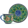 7 oz Stoneware Cup with Saucer - Polmedia Polish Pottery H2441B