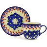 7 oz Stoneware Cup with Saucer - Polmedia Polish Pottery H2482G