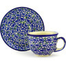7 oz Stoneware Cup with Saucer - Polmedia Polish Pottery H2533G