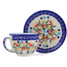 7 oz Stoneware Cup with Saucer - Polmedia Polish Pottery H2883J