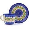 7 oz Stoneware Cup with Saucer - Polmedia Polish Pottery H2891J