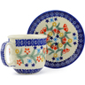 7 oz Stoneware Cup with Saucer - Polmedia Polish Pottery H3644J