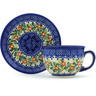 7 oz Stoneware Cup with Saucer - Polmedia Polish Pottery H3670H