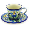 7 oz Stoneware Cup with Saucer - Polmedia Polish Pottery H3706F
