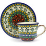 7 oz Stoneware Cup with Saucer - Polmedia Polish Pottery H4006F