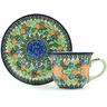 7 oz Stoneware Cup with Saucer - Polmedia Polish Pottery H4809H
