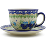 7 oz Stoneware Cup with Saucer - Polmedia Polish Pottery H4962J