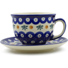 7 oz Stoneware Cup with Saucer - Polmedia Polish Pottery H4963J