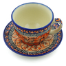 7 oz Stoneware Cup with Saucer - Polmedia Polish Pottery H5247J