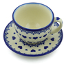 7 oz Stoneware Cup with Saucer - Polmedia Polish Pottery H5250J