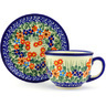 7 oz Stoneware Cup with Saucer - Polmedia Polish Pottery H7379G