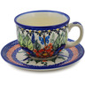 7 oz Stoneware Cup with Saucer - Polmedia Polish Pottery H8176K