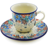 7 oz Stoneware Cup with Saucer - Polmedia Polish Pottery H8344J