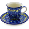 7 oz Stoneware Cup with Saucer - Polmedia Polish Pottery H8349J