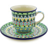 7 oz Stoneware Cup with Saucer - Polmedia Polish Pottery H8352J