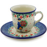 7 oz Stoneware Cup with Saucer - Polmedia Polish Pottery H8354J