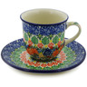7 oz Stoneware Cup with Saucer - Polmedia Polish Pottery H8356J