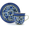 7 oz Stoneware Cup with Saucer - Polmedia Polish Pottery H8378G
